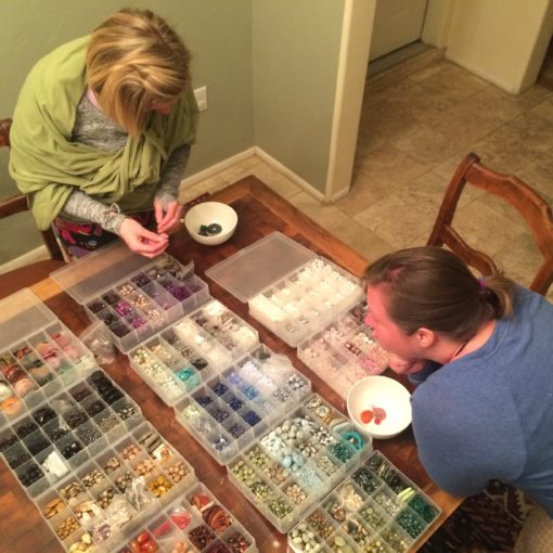 Selecting crystals at Crystal Creation Class with Lori A Andrus